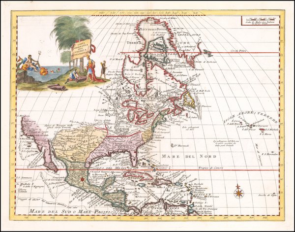 1-North America Map By Giambattista Albrizzi