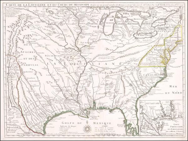 100-South, Southeast, Texas, Midwest, Plains and Southwest Map By Guillaume De L'Isle