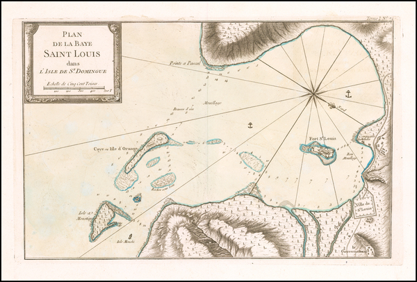 44-Hispaniola Map By Jacques Nicolas Bellin