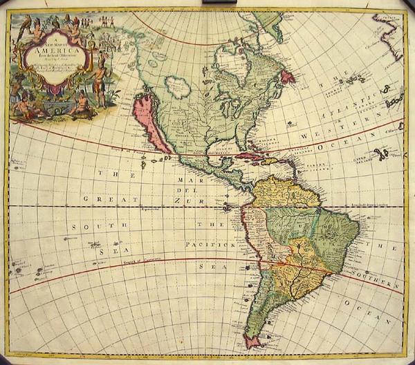 73-South America and America Map By John Senex
