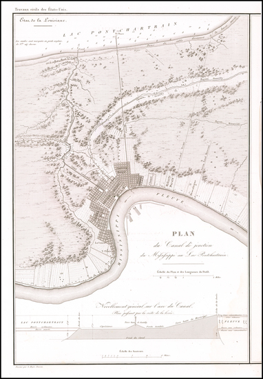83-Louisiana and New Orleans Map By Guillaume-Tell Poussin