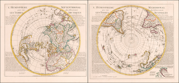 57-World, Northern Hemisphere, Southern Hemisphere and Polar Maps Map By Johannes Covens  &  C