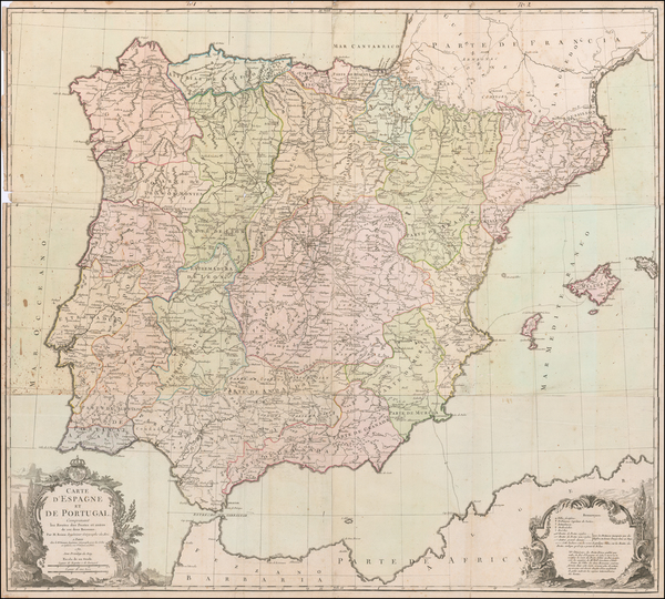 14-Spain and Portugal Map By Louis Charles Desnos