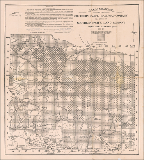 California Map By Southern Pacific Land Company
