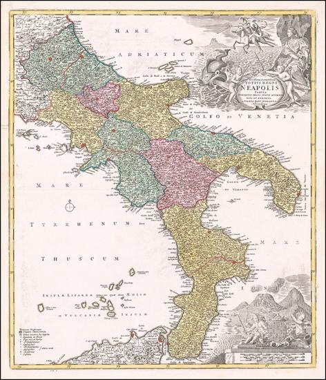 Southern Italy Map By Johann Baptist Homann