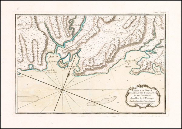 1-Hispaniola Map By Jacques Nicolas Bellin