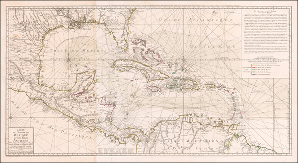 54-Florida, South, Southeast, Texas, Mexico, Caribbean and Central America Map By Philippe Buache