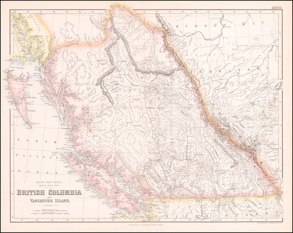 40-Pacific Northwest, Washington and Canada Map By Archibald Fullarton & Co.