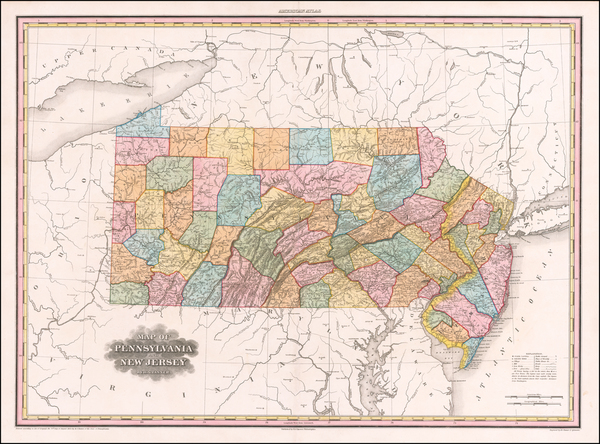40-New Jersey and Pennsylvania Map By Henry Schenk Tanner