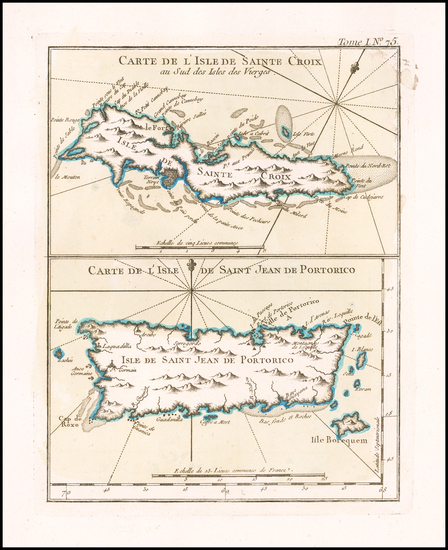44-Puerto Rico and Virgin Islands Map By Jacques Nicolas Bellin