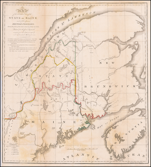 New England, Maine and Canada Map By M Chambers