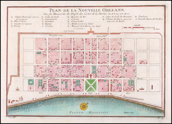 87-Louisiana and New Orleans Map By Jacques Nicolas Bellin
