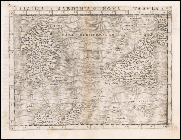 43-Malta, Sardinia and Sicily Map By Giacomo Gastaldi