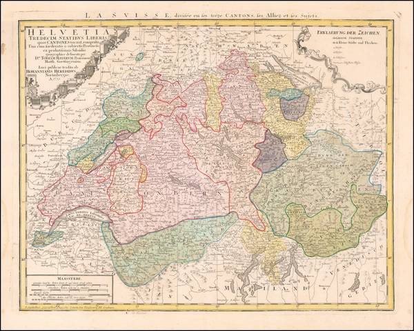 79-Switzerland Map By Johann Baptist Homann