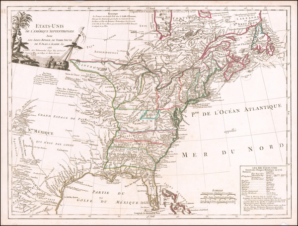 32-United States Map By Charles Francois Delamarche