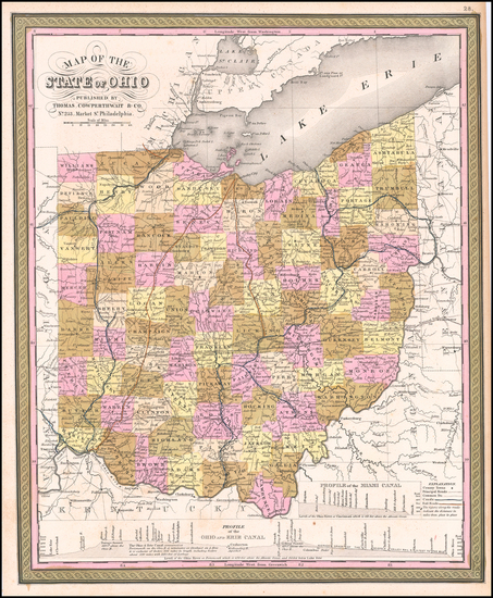 74-Ohio Map By Thomas, Cowperthwait & Co.