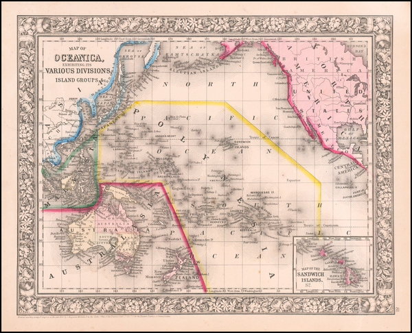 3-Pacific and Oceania Map By Samuel Augustus Mitchell Jr.