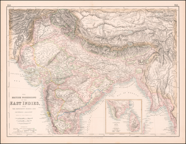 India & Sri Lanka and Central Asia & Caucasus Map By Archibald Fullarton & Co.