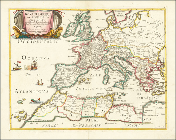 41-Europe, Italy and Mediterranean Map By Joan Jacobum de Rubeis / Michel-Antoine Baudrand
