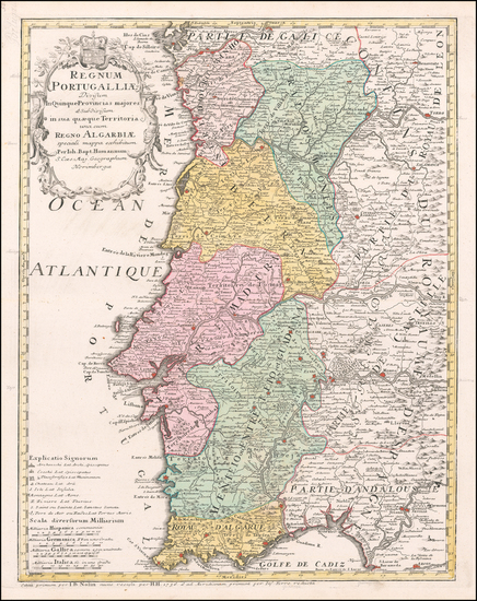 58-Portugal Map By Johann Baptist Homann / Jean-Baptiste Nolin