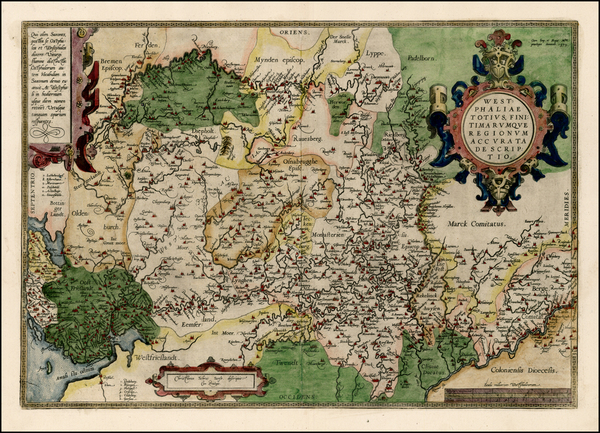 91-Netherlands and Germany Map By Abraham Ortelius