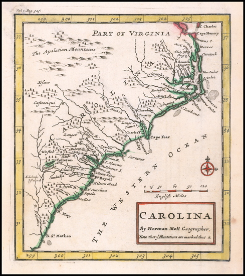 48-Southeast, North Carolina and South Carolina Map By Herman Moll