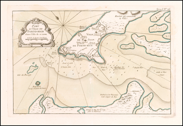 76-Puerto Rico Map By Jacques Nicolas Bellin