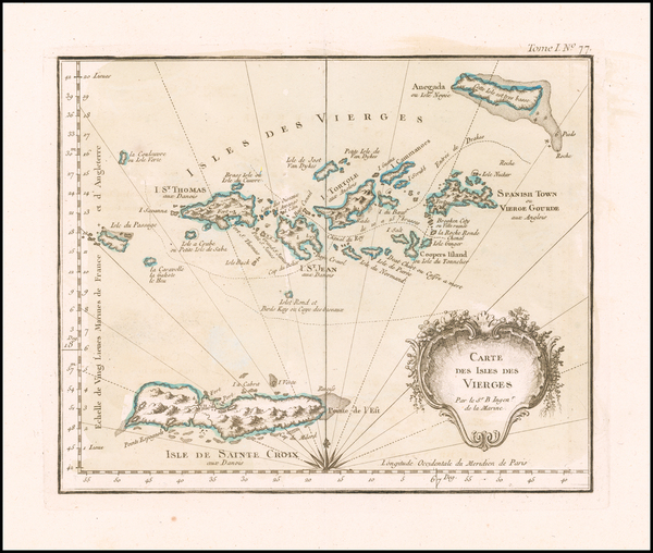 25-Virgin Islands Map By Jacques Nicolas Bellin