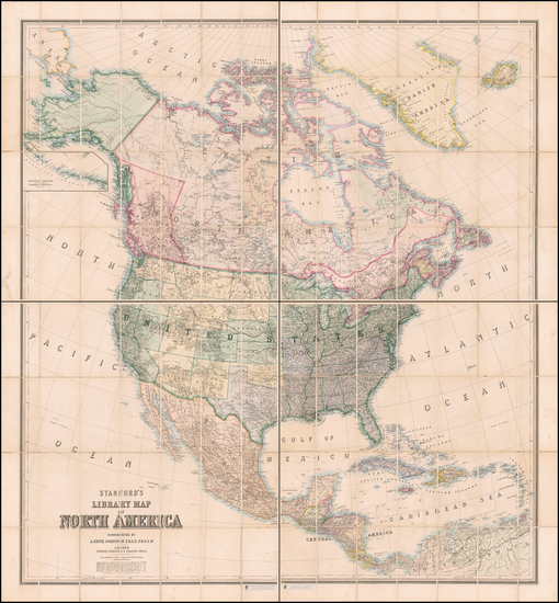 15-United States and North America Map By Edward Stanford