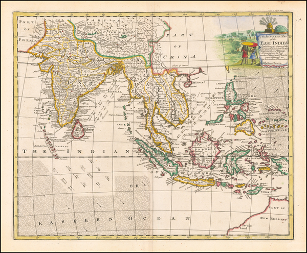 60-India, Southeast Asia, Philippines, Indonesia and Malaysia Map By Emanuel Bowen