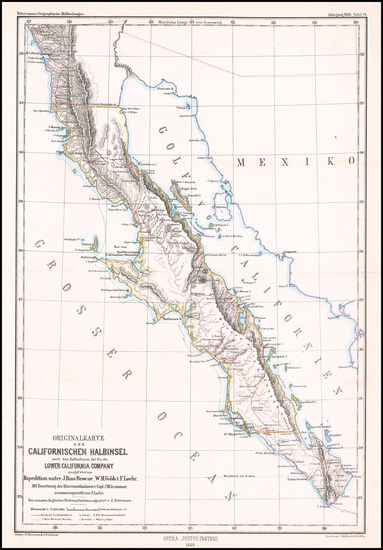 43-Baja California Map By Augustus Herman Petermann