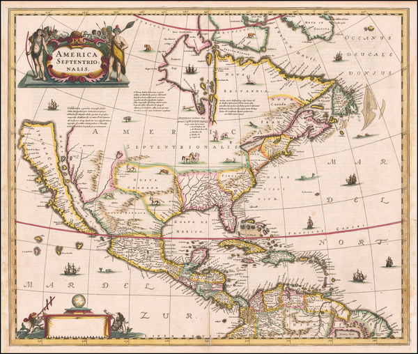 54-North America and California as an Island Map By Henricus Hondius / Jan Jansson
