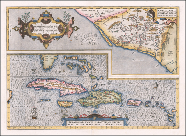 48-Mexico, Caribbean, Cuba, Hispaniola, Puerto Rico and Bahamas Map By Abraham Ortelius