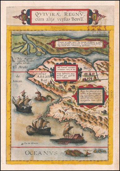 64-Polar Maps, Pacific Northwest, Alaska, Canada and California Map By Cornelis de Jode
