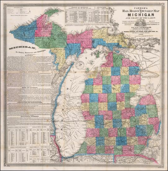 78-Michigan Map By Silas Farmer & Co.