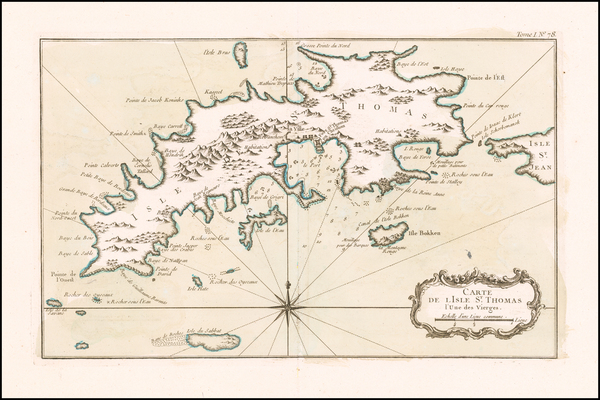 71-Virgin Islands Map By Jacques Nicolas Bellin
