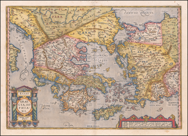 25-Greece Map By Abraham Ortelius
