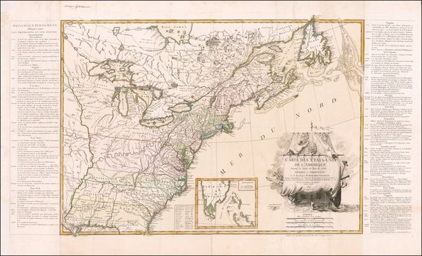 71-United States and American Revolution Map By Jean Lattré