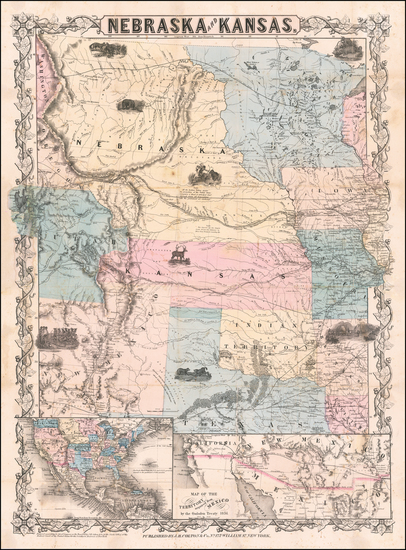 54-Kansas, Nebraska and Rocky Mountains Map By Joseph Hutchins Colton