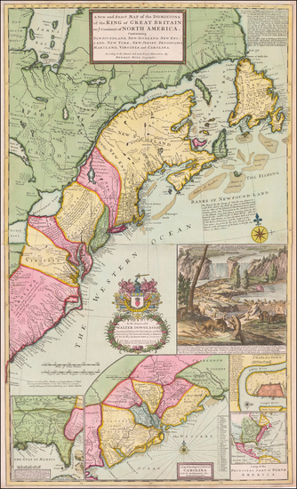 12-United States, New England, Mid-Atlantic and Southeast Map By Herman Moll