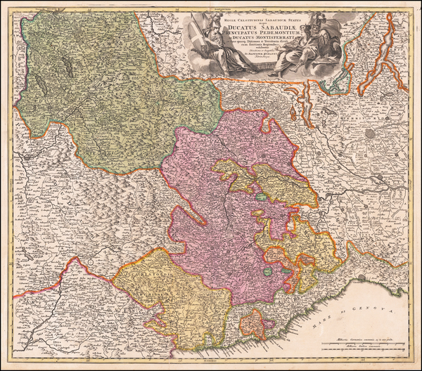 70-Switzerland, France and Northern Italy Map By Johann Baptist Homann