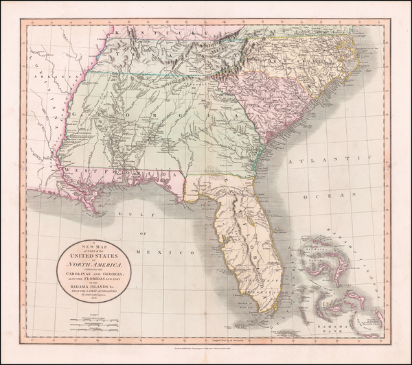 Florida, South, Alabama, Mississippi, Tennessee, Southeast, Georgia, North Carolina and South Carolina Map By John Cary