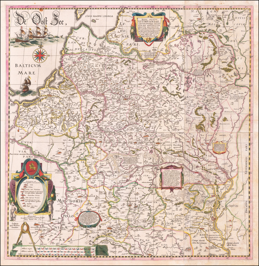 49-Poland, Russia, Ukraine and Baltic Countries Map By Willem Janszoon Blaeu / Hessel Gerritsz