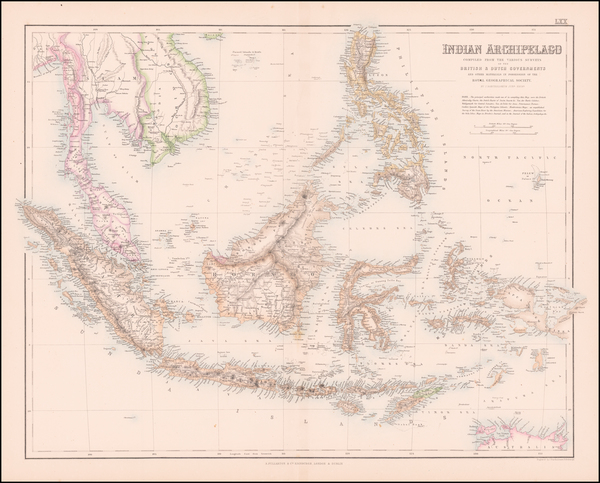 Southeast Asia, Philippines, Indonesia and Malaysia Map By Archibald Fullarton & Co.