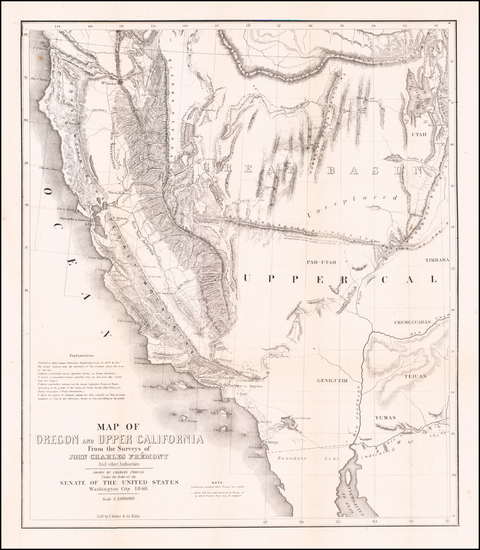 33-Southwest, Arizona, Utah, Nevada, Utah and California Map By John Charles Fremont / Charles Pre