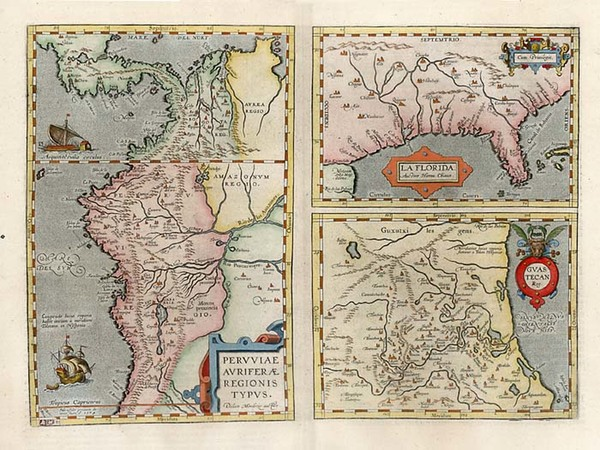 61-South, Southeast, Central America and South America Map By Abraham Ortelius