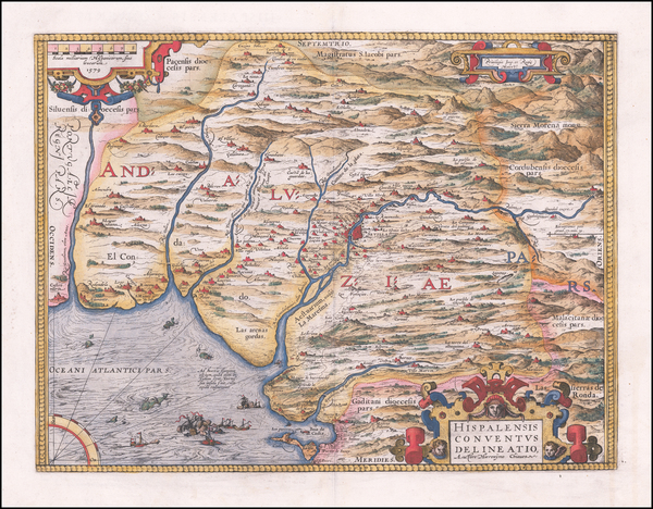 95-Spain Map By Abraham Ortelius