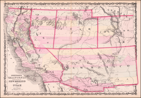 96-Southwest, Arizona, Utah, Nevada, New Mexico, Rocky Mountains, Utah and California Map By Alvin