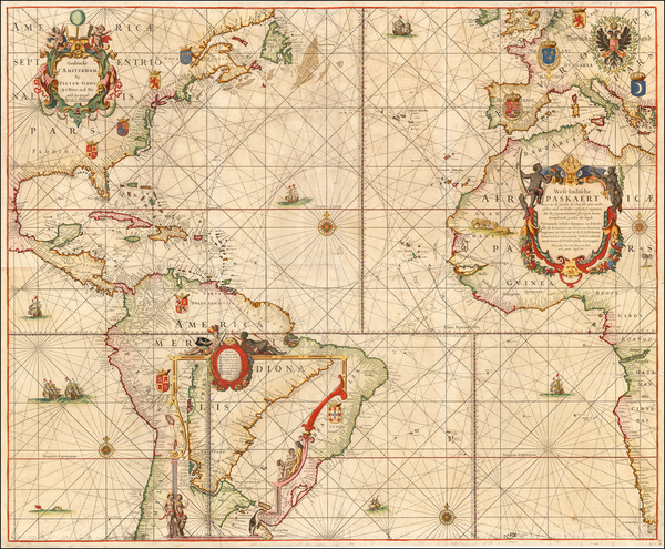 Atlantic Ocean, Mid-Atlantic, Florida, North America, Caribbean, South America, Brazil, West Africa and America Map By Pieter Goos / Johannes Van Keulen