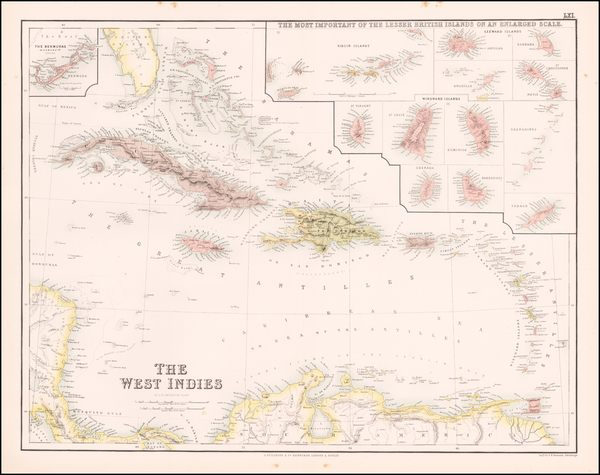 43-Caribbean Map By Archibald Fullarton & Co.